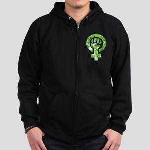 Feminist Symbol Green Leaves Sweatshirt
