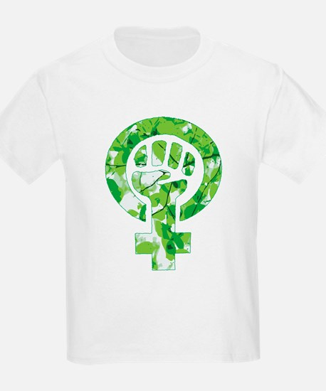 Feminist Symbol Green Leaves T-Shirt