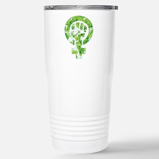 Feminist Symbol Green L Stainless Steel Travel Mug