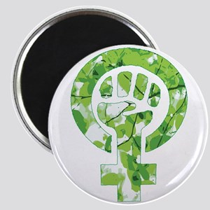 Feminist Symbol Green Leaves Magnets