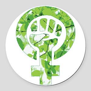 Feminist Symbol Green Leaves Round Car Magnet