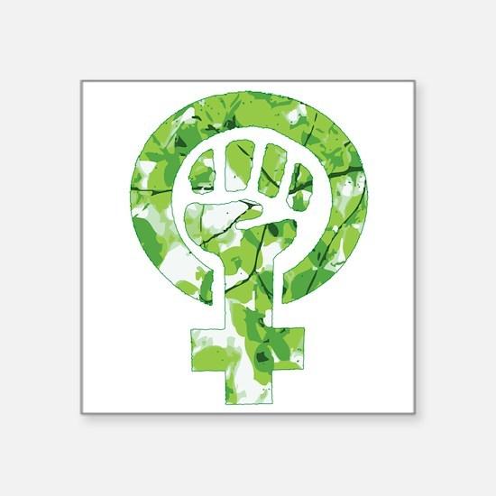 Feminist Symbol Green Leaves Sticker