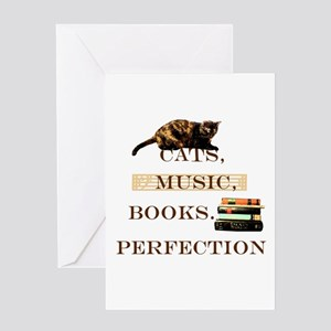 Cats, books and music Greeting Cards