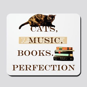 Cats, books and music Mousepad