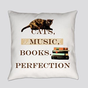 Cats, books and music Everyday Pillow