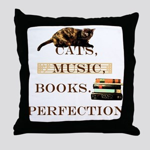 Cats, books and music Throw Pillow