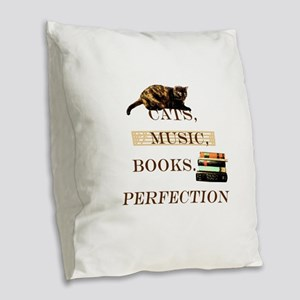 Cats, books and music Burlap Throw Pillow