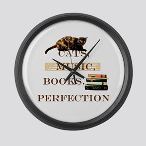 Cats, books and music Large Wall Clock