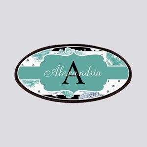 Teal Peony Stripe Personalized Patch