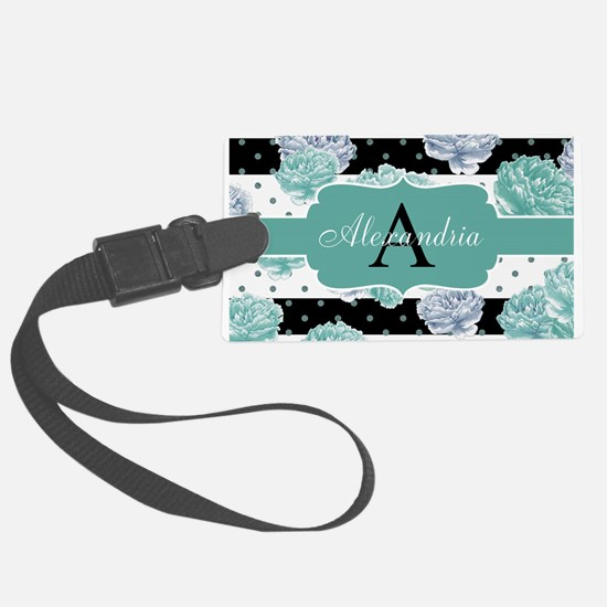 Teal Peony Stripe Personalized Luggage Tag