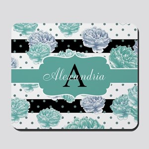 Teal Peony Stripe Personalized Mousepad