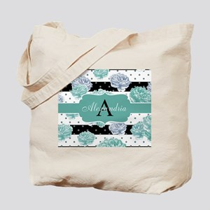 Teal Peony Stripe Personalized Tote Bag
