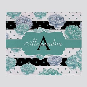 Teal Peony Stripe Personalized Throw Blanket