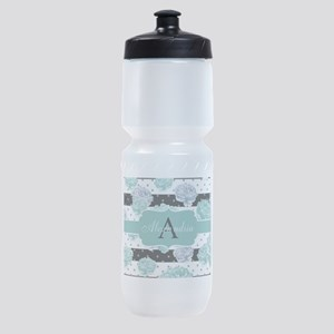 Teal Peony Stripe Personalized Sports Bottle