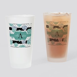 Teal Peony Stripe Personalized Drinking Glass