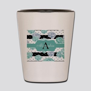 Teal Peony Stripe Personalized Shot Glass