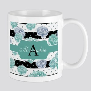 Teal Peony Stripe Personalized Mugs