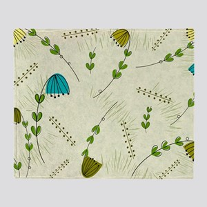 Mid-Century Modern Flowers Throw Blanket