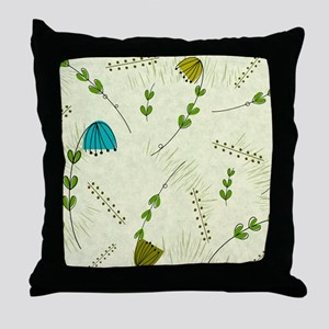 Mid-Century Modern Flowers Throw Pillow