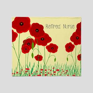 Retired Nurse Red Poppies Throw Blanket