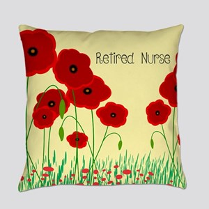 Retired Nurse Red Poppies Everyday Pillow