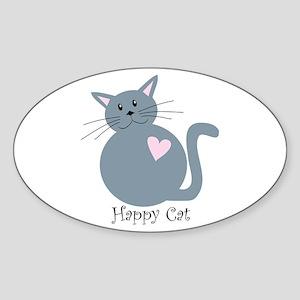 Happy Cat Oval Sticker