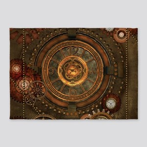 Steampunk, noble design with clocks and gears 5'x7