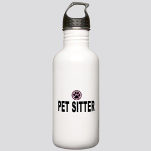 Pet Sitter Pink Circle Paw Water Bottle