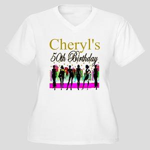 MS DIVA 50TH Womens Plus Size V Neck T Shirt