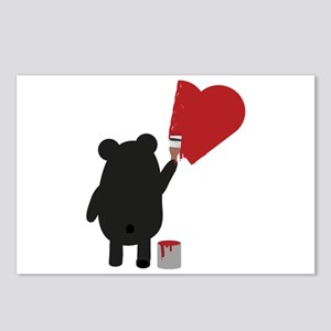 Black Bear painting Heart Postcards (Package of 8)