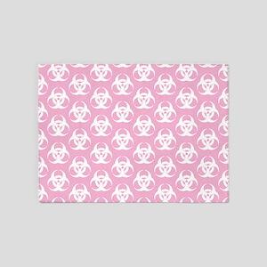 Biohazard Pattern Pink 5'x7'Area Rug