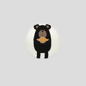 Black Bear with pie Mini Button