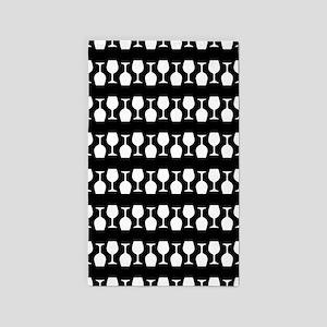 Wine Glass Stripes Pattern Area Rug