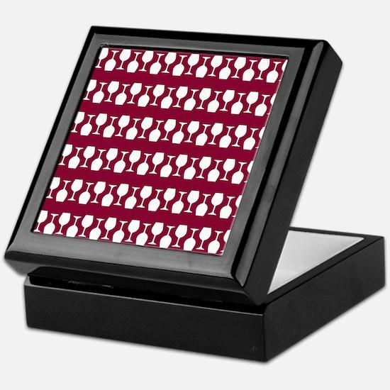 Wine Glass Stripes Pattern Keepsake Box
