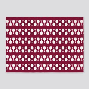 Wine Glass Stripes Pattern 5'x7'Area Rug
