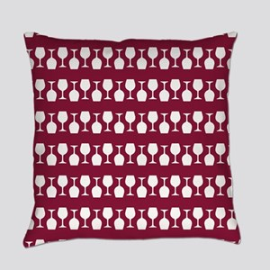 Wine Glass Stripes Pattern Everyday Pillow