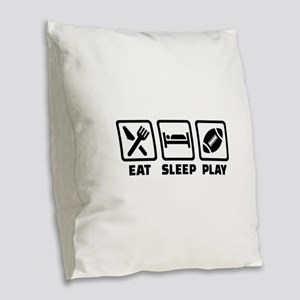 Eat Sleep Play Football Burlap Throw Pillow
