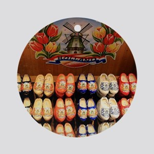 Wooden painted clogs, Holland 2 Round Ornament