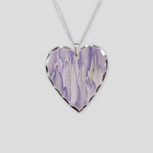 Abstract Orchid Painting Necklace Heart Charm