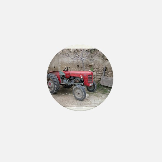 Red Tractor and Dirt Wall Mini Button