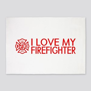 Firefighter: I Love My Firefighter (Red) 5'x7'Area