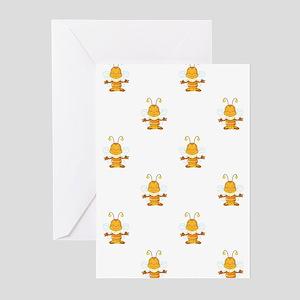 YOGA BEE Greeting Cards