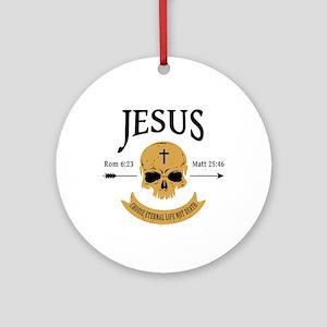 Jesus Skull Round Ornament