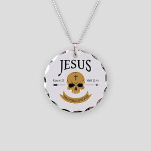 Jesus Skull Necklace Circle Charm