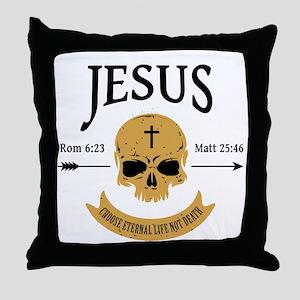 Jesus Skull Throw Pillow