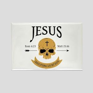 Jesus Skull Rectangle Magnet