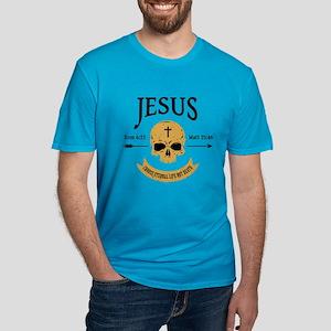 Jesus Skull Men's Fitted T-Shirt (dark)