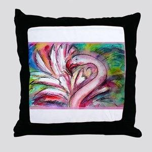 Flamingo, colorful, fun, art! Throw Pillow