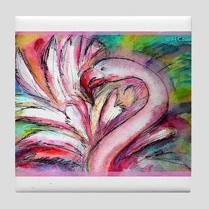 Flamingo, colorful, fun, art! Tile Coaster
