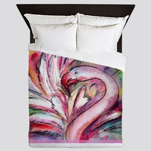 Flamingo, colorful, fun, art! Queen Duvet